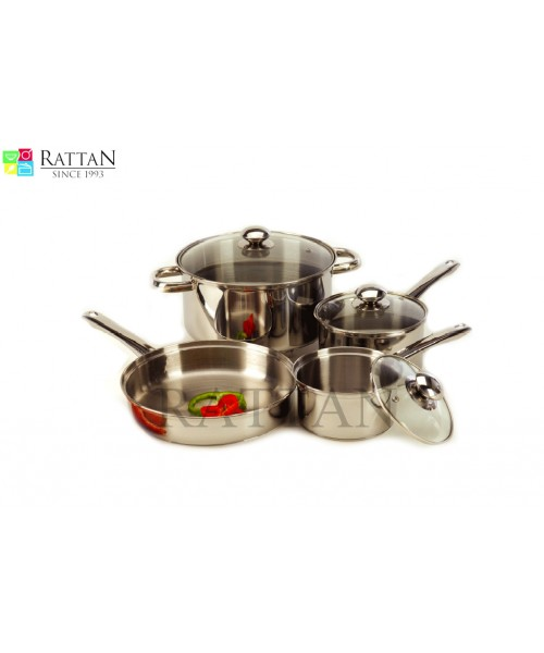 Glass Topped Stainless Steel Cookware Set