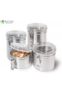 Stainless Steel Canister Set With Airtight Acrylic Lid And Clamp